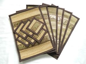 Image Is Loading Placemats And Coasters Set Of 6 Woven Gr