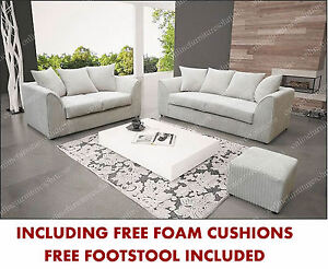 DYLAN CHICAGO SOFA 3 2 SEATER CREAM JUMBO CORD ALL OVER