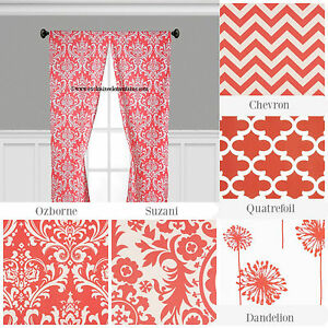 Image Is Loading Coral Curtain Panels Floral Quatrefoil Chevron Modern Curtains