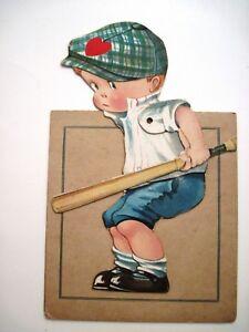 Large-1927-Mechanical-Valentine-Card-w-Cute-Boy-Ready-To-Hit-Baseball