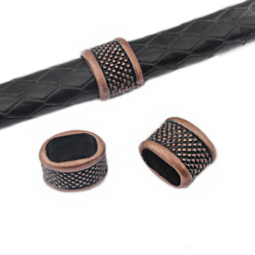 10Pcs Dots Slider Spacer Beads 10.5x6.7mm Bracelet Findings For Licorice Leather