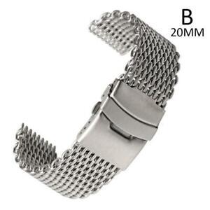 18-20-22-24mm-Edelstahl-Dive-Shark-Mesh-Milanese-Uhrenarmband-Armband