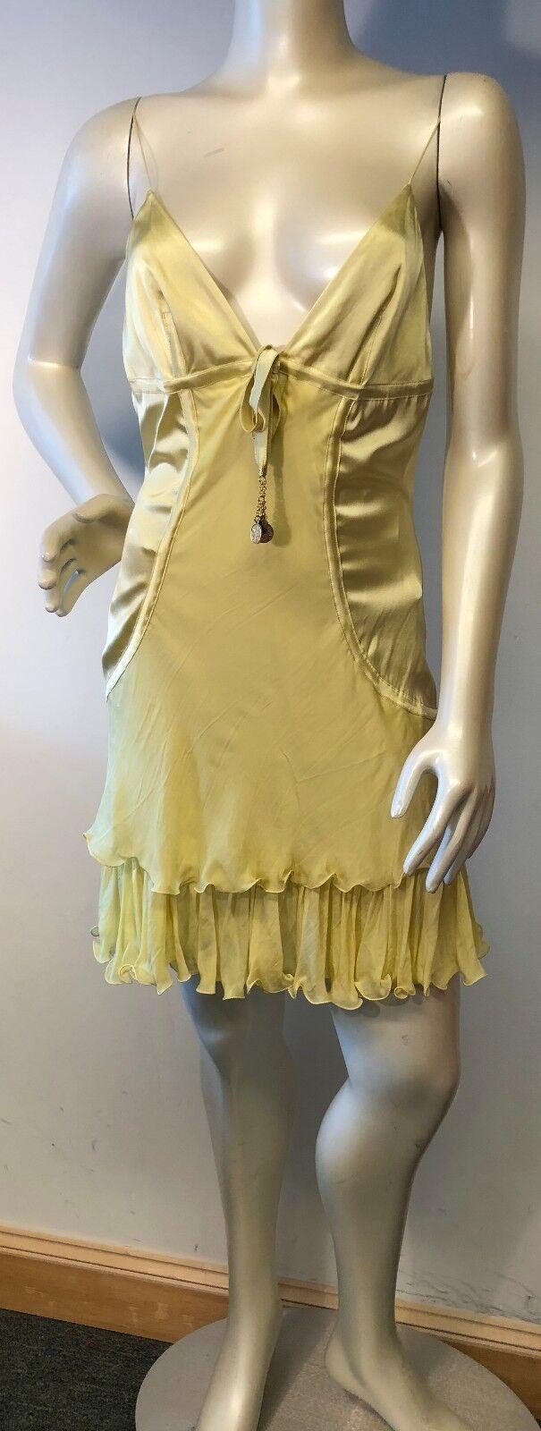 Roberto Cavalli Tierot Gelb  stretch silk satin Dress Sz M