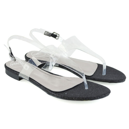 Womens Toepost Sandals Perspex Ladies Summer Beach Clear Slingback Holiday Shoes