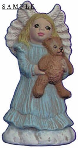 Angel Ornament with Teddy Bear 2.5 inch Hand made Ceramic Ready to paint bisque