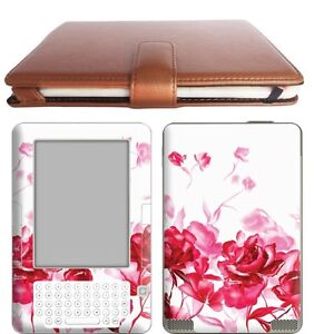Details about Amazon Ebook Kindle 2 Leather Case Cover Jacket + Skin