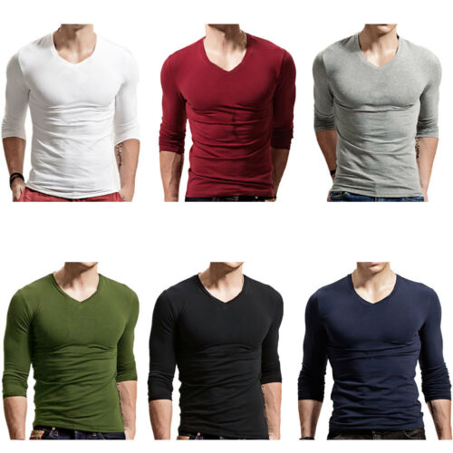 Men/'s Slim Fit V Neck Long Sleeve Muscle Tee T-shirt Casual Tops Blouse Shirt