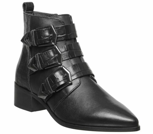 Womens Office Alessia Buckle Boots Black Croc Leather Boots