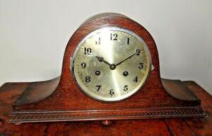 Antique 1920's Art Deco Oak Napoleons Hat Mantel Clock with Chime (Key Pendulum)