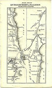 Antique map, Queensferry to Falkirk
