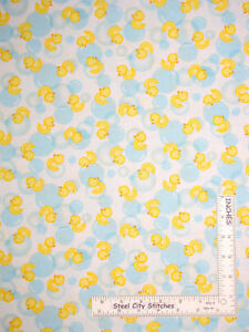 Yellow Rubber Duck Bubbles White Cotton Fabric Fun Amp Games