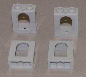 LEGO-4-x-Burgfenster-Rahmen-mit-Bogen-Ausschnitt-hellgrau-90195-NEUWARE