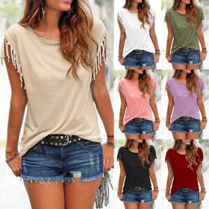Plus-Size-Women-Tassels-Blouse-Short-Sleeve-Summer-Beach-Scoop-Neck-T-Shirt-Tops
