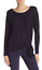 Theory Serah Long Sleeve Knotted Hem Top Deep Navy NWT $195