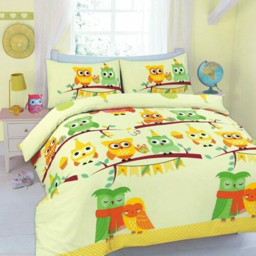 Cute Owl Cot Bed Size Duvet Quilt Cover Printed Bedding Set With Pillow Case
