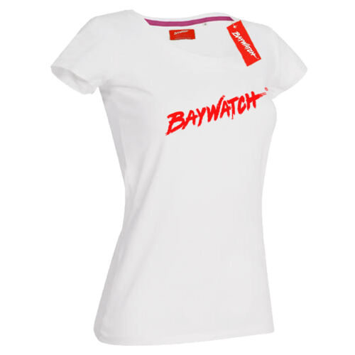 LICENSED BAYWATCH ® LADIES WHITE COTTON T-SHIRT LIFEGUARD FANCY DRESS TOP