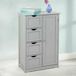 4-Drawer-Bathroom-Cabinet-Storage-Unit-Wooden-Chest-Cupboard-Grey-Door-Draw