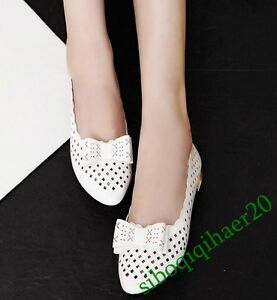 Summer-Breathable-Bowknot-Flat-Heels-Womens-Fashion-Pumps-Shoes-Hollow-Size