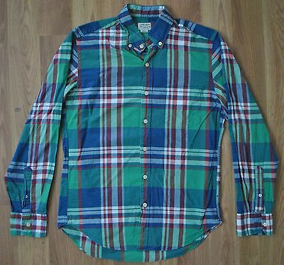J.Crew Summer Plaid Button Up Shirt Mens Small 100% Cotton Blue Green Red White