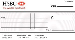 Details about LARGE JUMBO HSBC BLANK CHEQUE (3 SIZES) for Charity-  Presentation