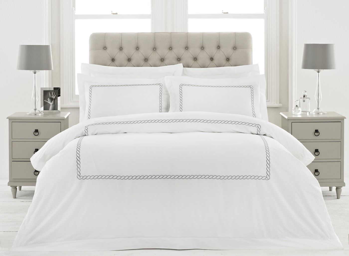 100% Cotton 200tc Weiß Silberkette KingGröße-Bettbezug