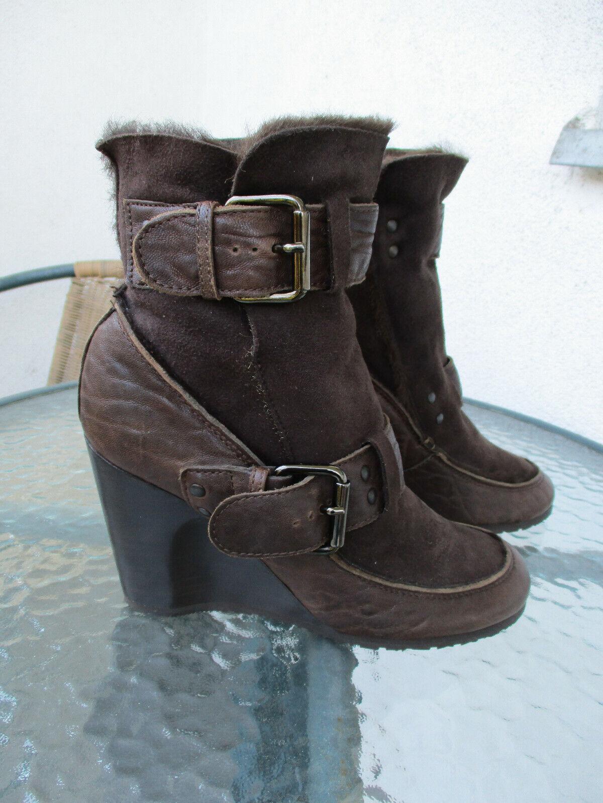 FENDI Leather sheepskin wedge Ankle Stiefel