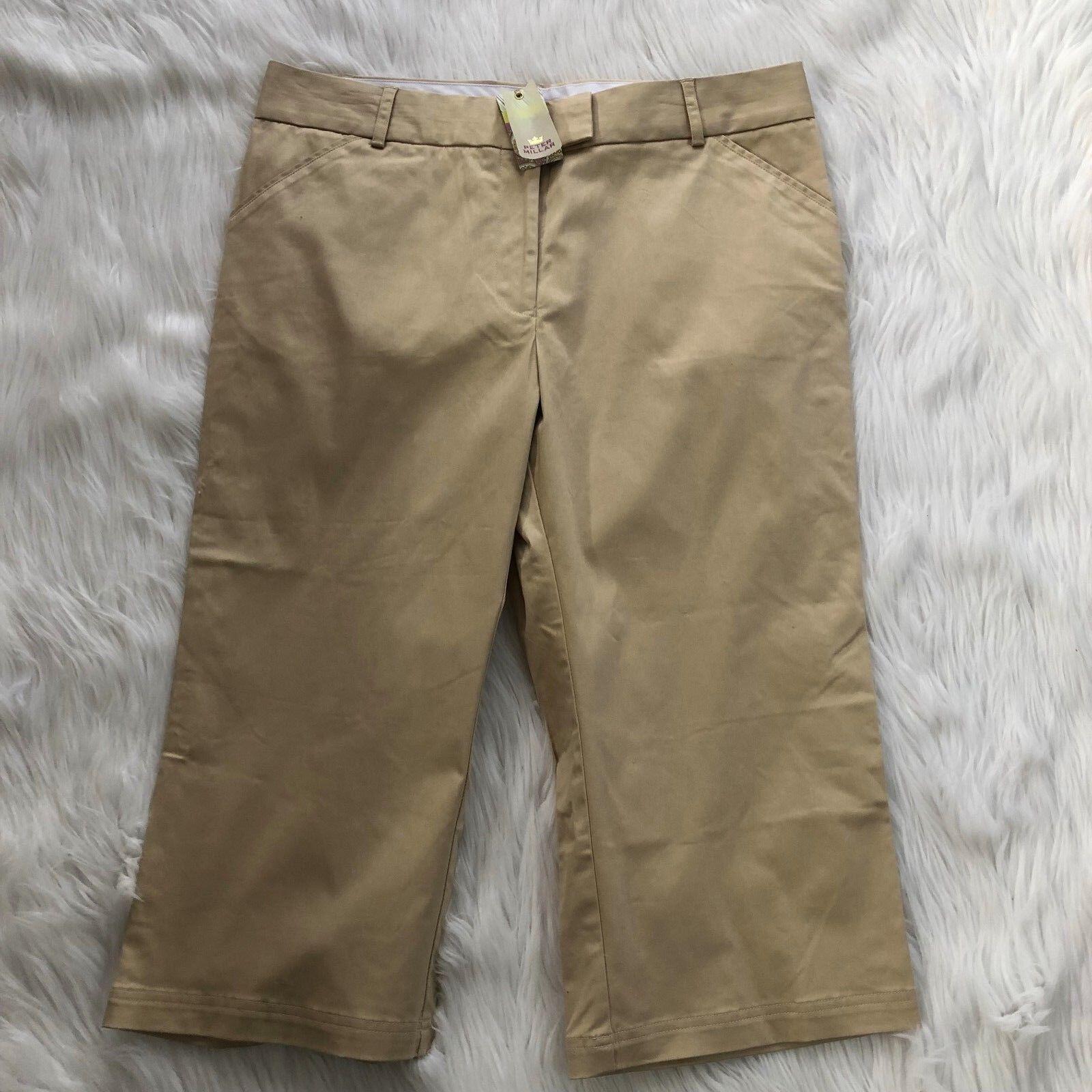 Peter Millar Womens Pants Cropped Khaki Beige Stretch Cotton Size 16 NEW  119