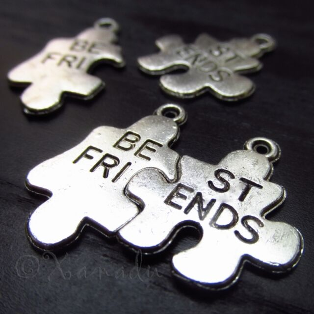 10Sets Best Friends Puzzle Pendants - Wholesale Silver Plated Charms - C1188
