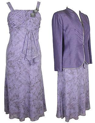 NEW Jacques Vert Lavender Jacket & Feather Print Rosette Dress RRP £318  Size 18
