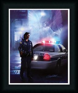 Police Officer Woman Angel Over Shoulder Framed Art Print