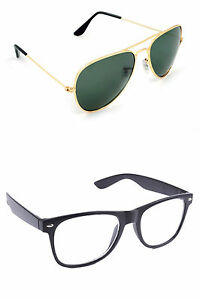 Combo Aviator Sunglasses in Golden &Transparent Wayfarer In Various Options