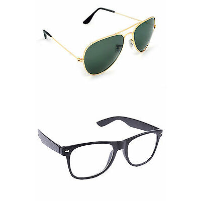 Combo Aviator Sunglasses in Golden  And Transparent Wayfarer In Various Options