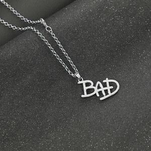Lovely-Michael-Jackson-BAD-silver-Tone-Necklace-Must-See-In-Organza-gift-bag