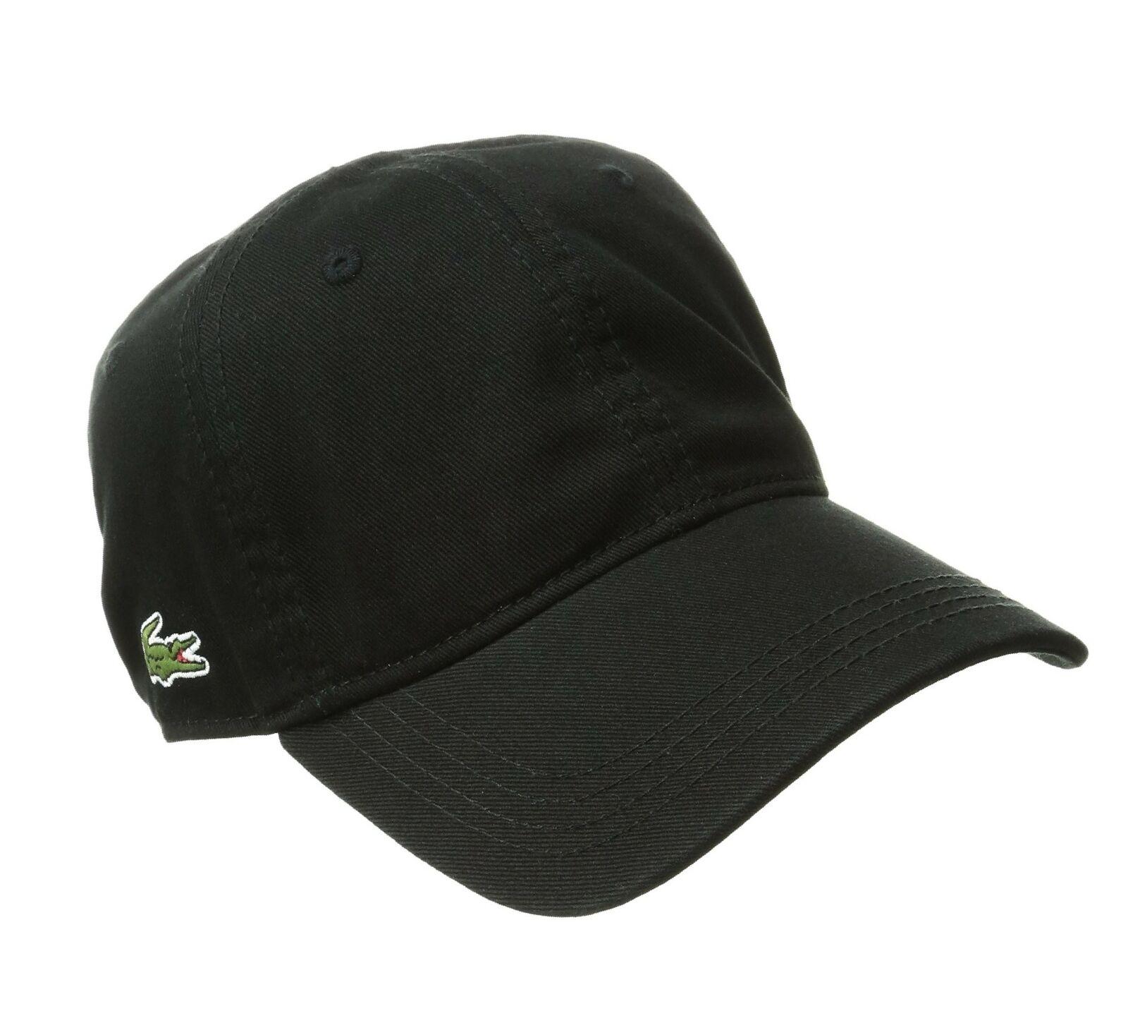e0faf34e Lacoste Men's Cotton Gabardine Cap with Signature Green Croc Black One Size
