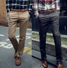 Men's Skinny Casual Pencil Dress Pants Slim Straight Leg Jeans Leisure Trousers