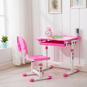 Image Is Loading Pink Adjule Children 039 S Desk And Chair