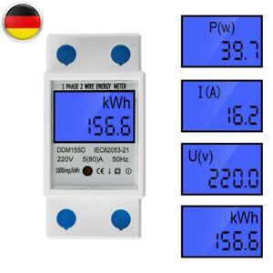 LCD Digitale Stromzähler Wechselstromzähler Hutschiene KWh Zähler 5-80A 5-32A DE