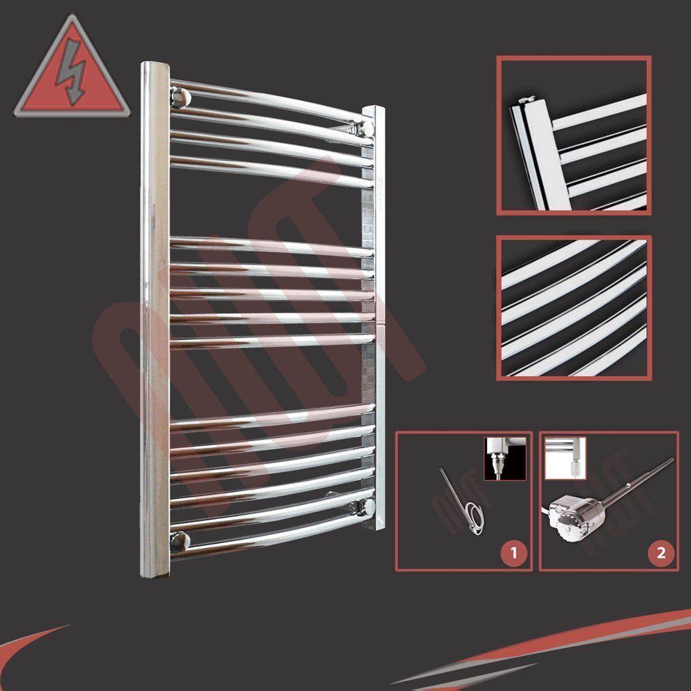 600mm (w) x 800mm (h) Incurvé Chrome électrique radiateur porte-serviettes chauffant - 300 W