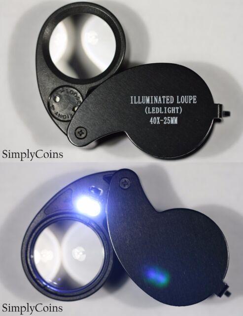 5-40X LED Illuminated Jewellery Reading Loupe Magnifying Glass Eye Len 7H