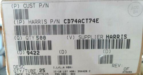10x CD74ACT74E ACT74 Harris 74HCT74 Pdip 14 Pin