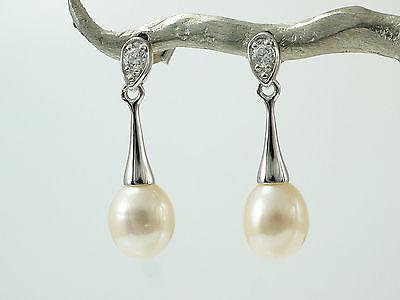 925 Silber Ohrringe mit  Süsswasser Perlen 7,4 mm Grösse  mit Zirkonia Steine