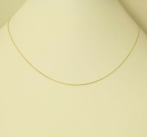 14K Real Yellow Gold 0.7mm Round Snake Chain Necklace 16 Inches