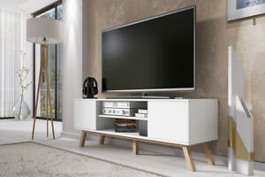 Vero Bois Meuble Tv Scandinave 150 Cm Blanc Mat Design Salon Casier