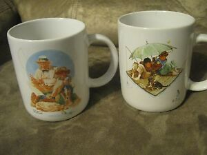 2-VINTAGE-NORMAN-ROCKWELL-COFFEE-MUG-039-S-FISHING-THEME-MUSEUM-COLLECTIONS-1987