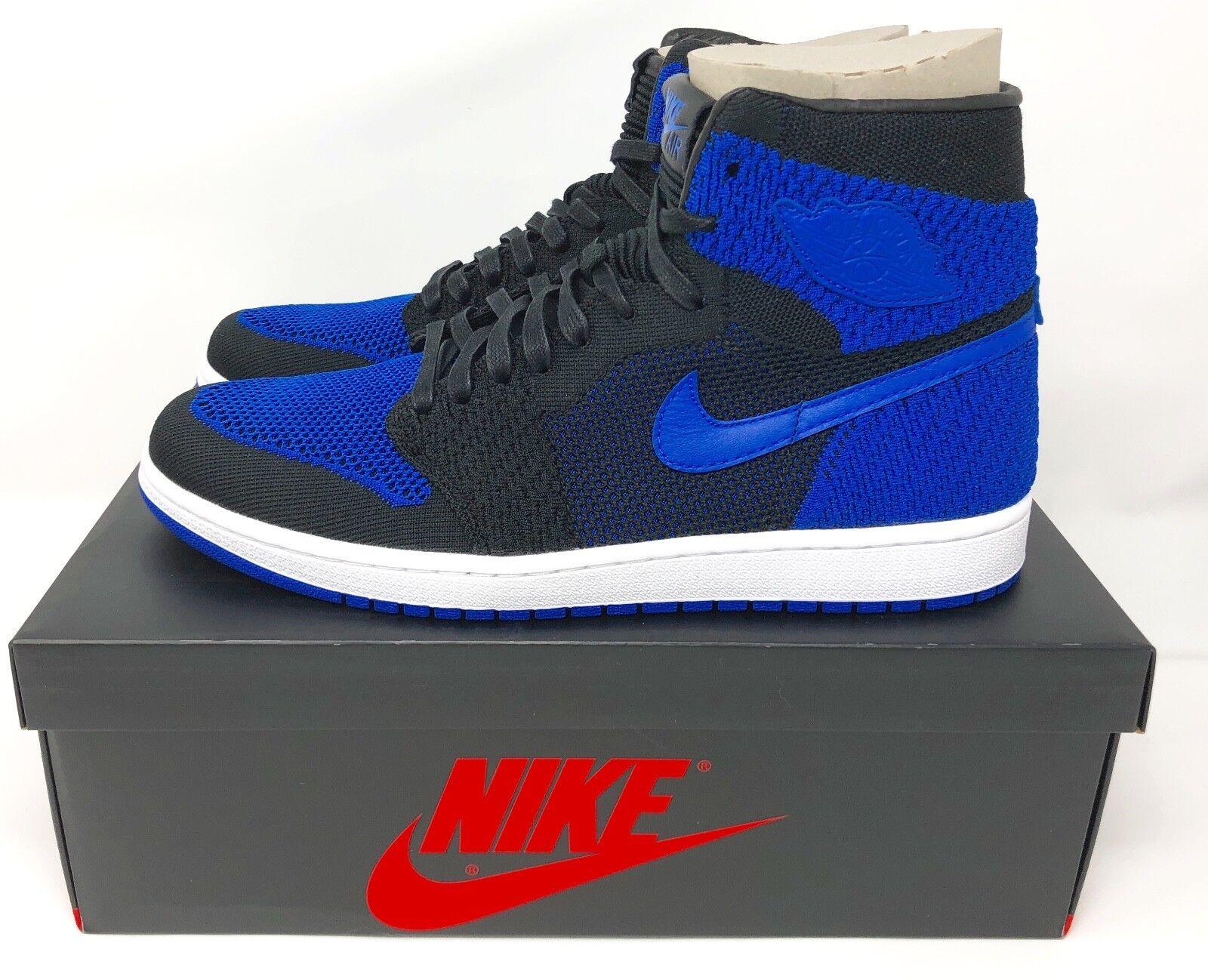 NIKE Air Jordan 1 Retro High Flyknit Shoes Blue Royal/Black 919704 006 Comfortable Cheap women's shoes women's shoes