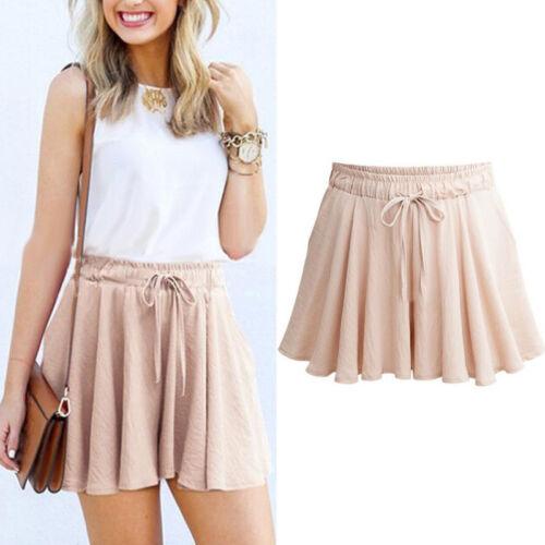 Damen Sommer Shorts Hosenrock Hotpants High Waist Sommerhose Strand Kurze Hosen