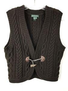 Lauren-Jeans-Company-Ralph-Lauren-Sweater-Vest-M-Lambs-Wool-Brown-Horn-Toggle
