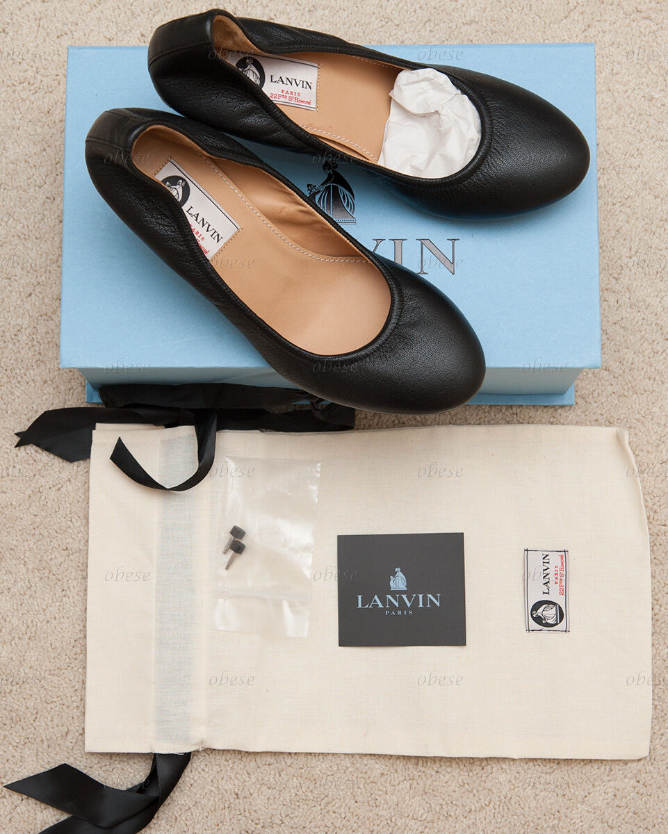 Lanvin Women's Espadrille Heel Ballerina Pump Black  38 B US 8 NEW IN BOX