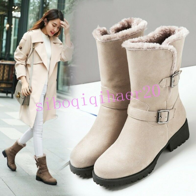 Warm Donna Snow Shoes Buckle Strap Round Toe Fur Lined Mid-Calf Stivali Plus Size