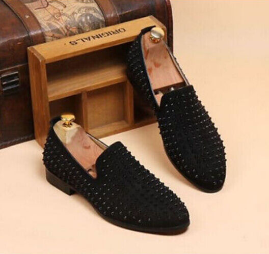 Mens Spike suede pointy Punk Studded Punk 2016 rivet Loafer Casual Dress shoes